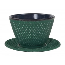 Cast Iron teacap 12 cl with saucer Green/Silver