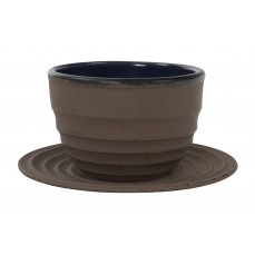 Cast Iron teacap 13 cl with raund palte Taupe
