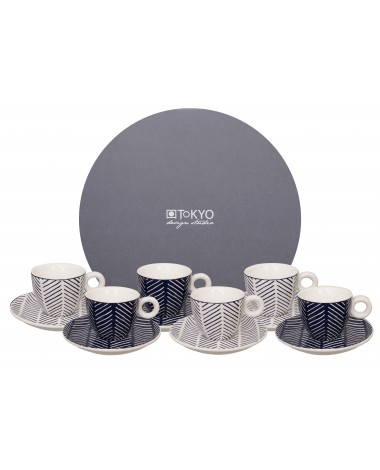 Geo Eclectic Esspr. Mug+Saucer 12pcs set Herrington White/Blue
