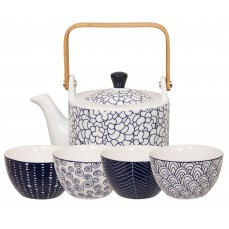 Bleu de'NÎmes Teaset White Pot with 4 round cups